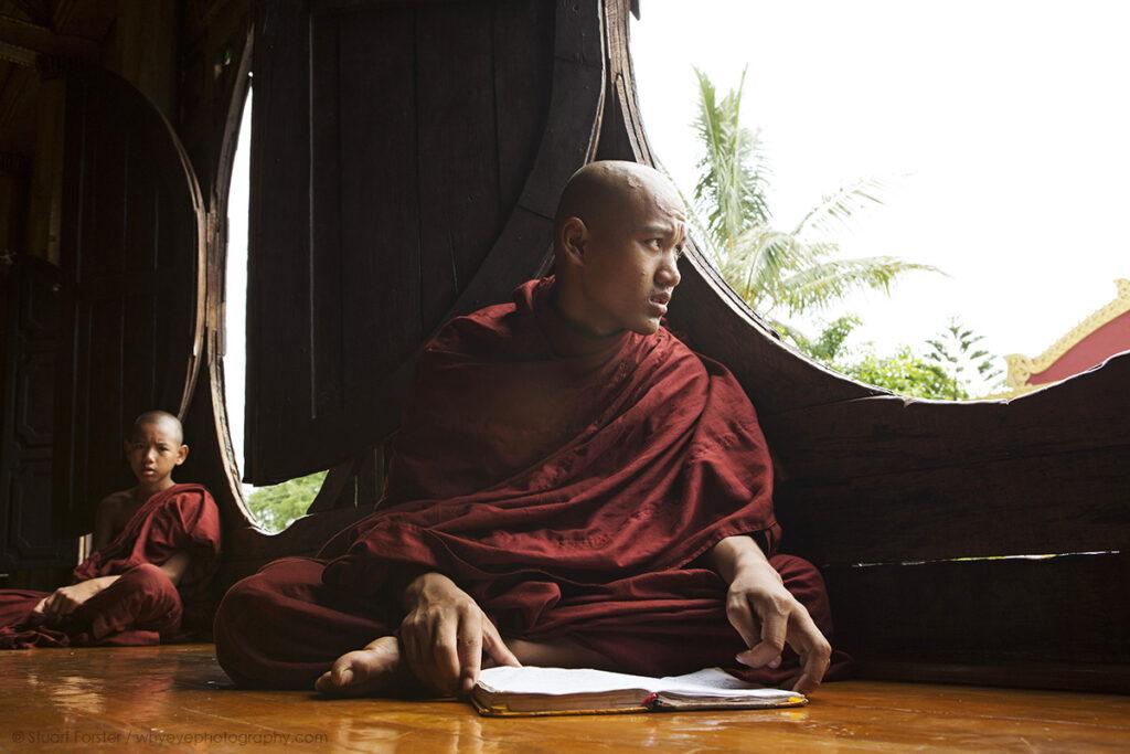 Buddhist monks at Shwe Yan Pyay Monastery at Taunggyi, Myanmar