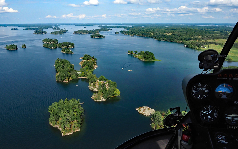 Geoff Moore's view of the Thousand Islands region on the Canada-USA border.