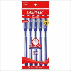Cello Gripper Ball Point Pen, Blue, Pack of 5