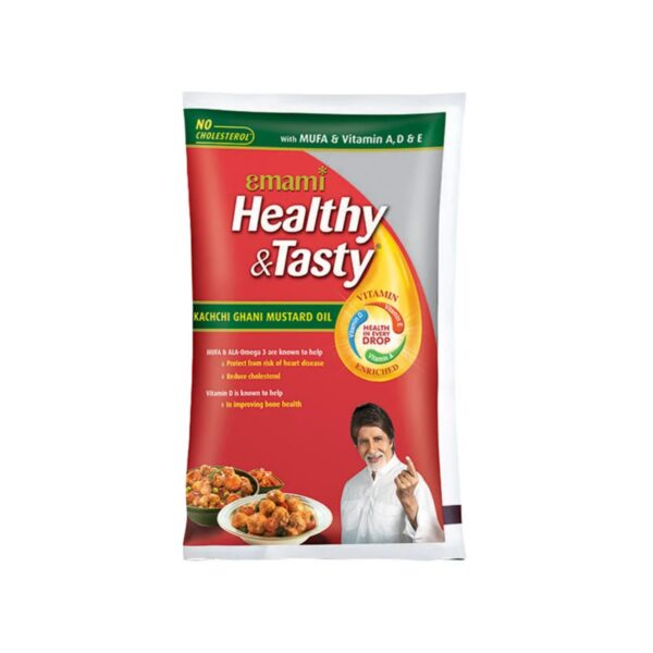 Emami Healthy and Tasty Kachi Ghani Mustard Oil Pouch, 1L