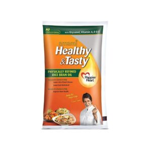 Emami Healthy and Tasty Refined Rice Bran Oil Pouch, 1L