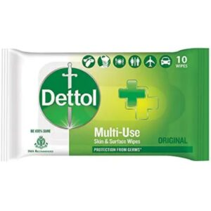 Dettol Disinfectant Skin & Surface Wipes, Original – 10 Count