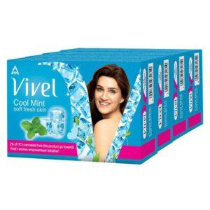 Vivel Cool Mint Bathing bar, Soft Fresh Skin with Menthol, 100g x 3+1