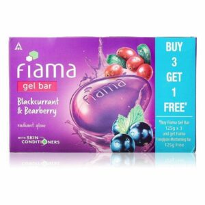 Fiama Gel Bar Blackcurrant and Bearberry for radiant glowing skin, with skin conditioners, 125 g (Pack of 3)