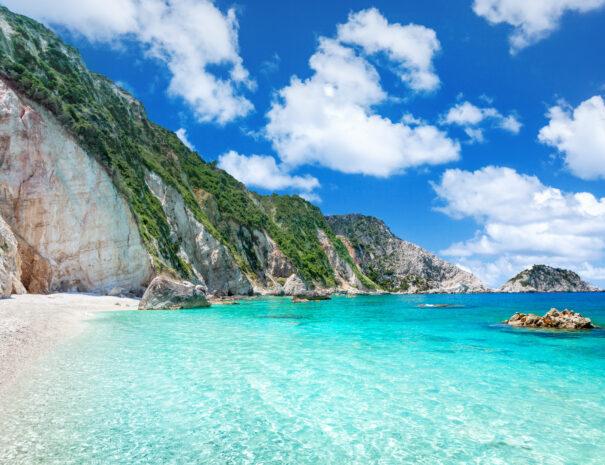 Petani beach crystal clear water Kefalonia