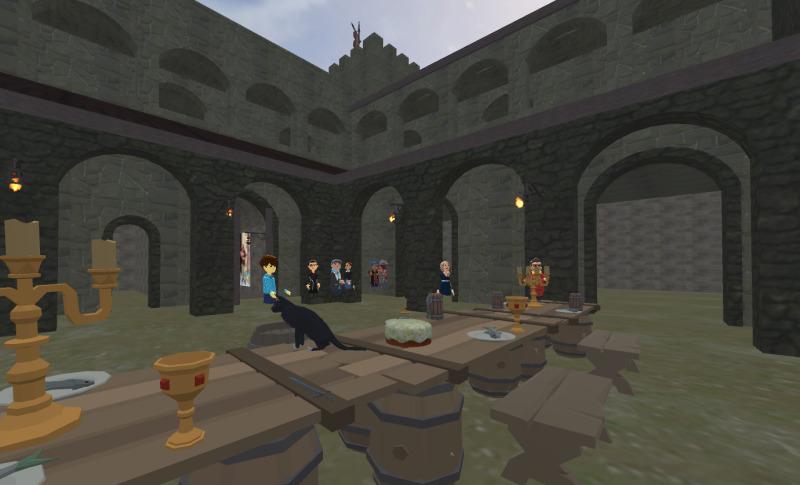 Inside a medievil castle fortress.