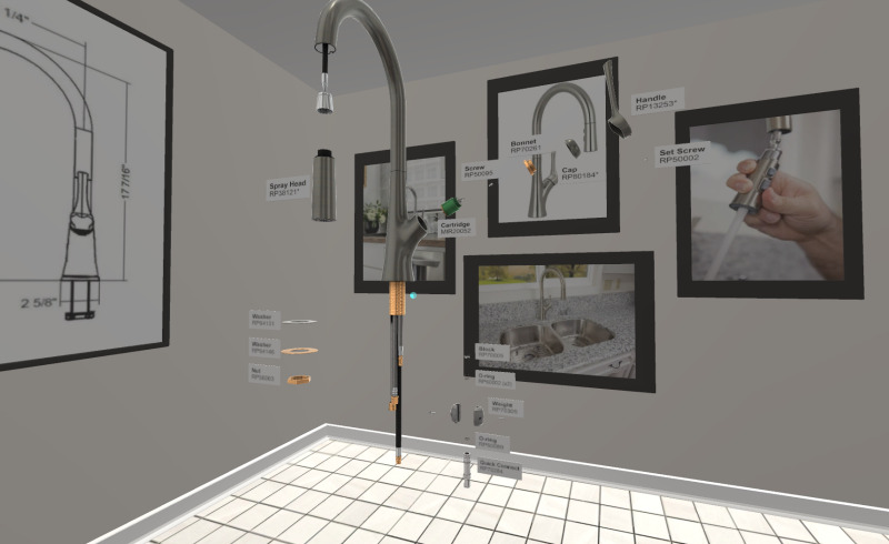 Kitchen sink faucet breakdown for business showcase in AltspaceVR.