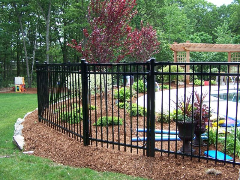 Aluminum residential fence installation in Fort Mill