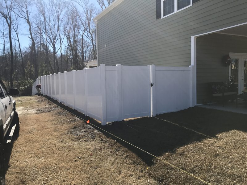 Vinyl fence installation in Indian Land