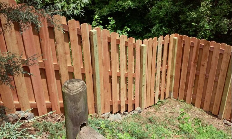 Wood fence installation in Indian Land