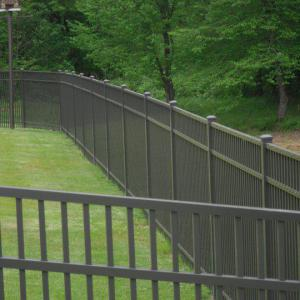 Aluminum residential fence installation in Waxhaw