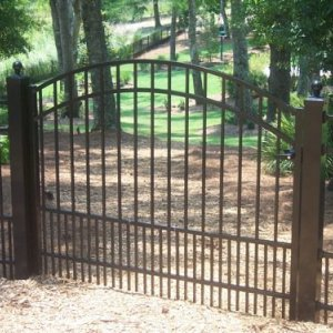 Aluminum residential fence installation in Charlotte
