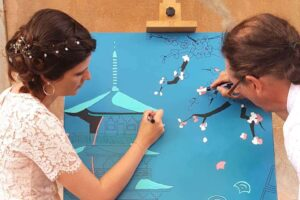 An artistic entertainment for wedding: collaborative painting, Toulon, South of France