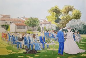A live painting during a wedding ceremony in Provence, France