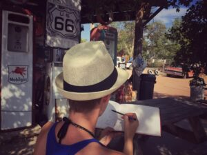 A French artist sketched for her road trip across United States