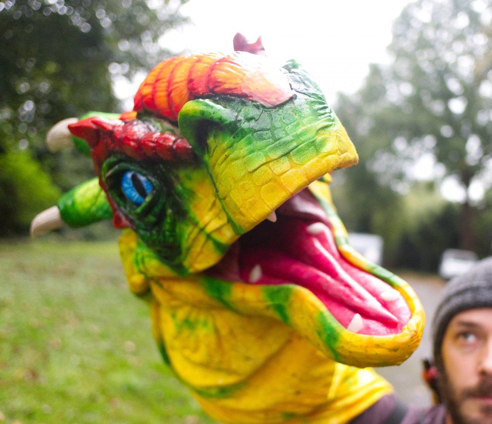 dragon puppet outside