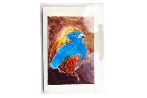 New! Handpainted Blue Waxbill Card