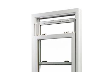 white sliding style window on white background