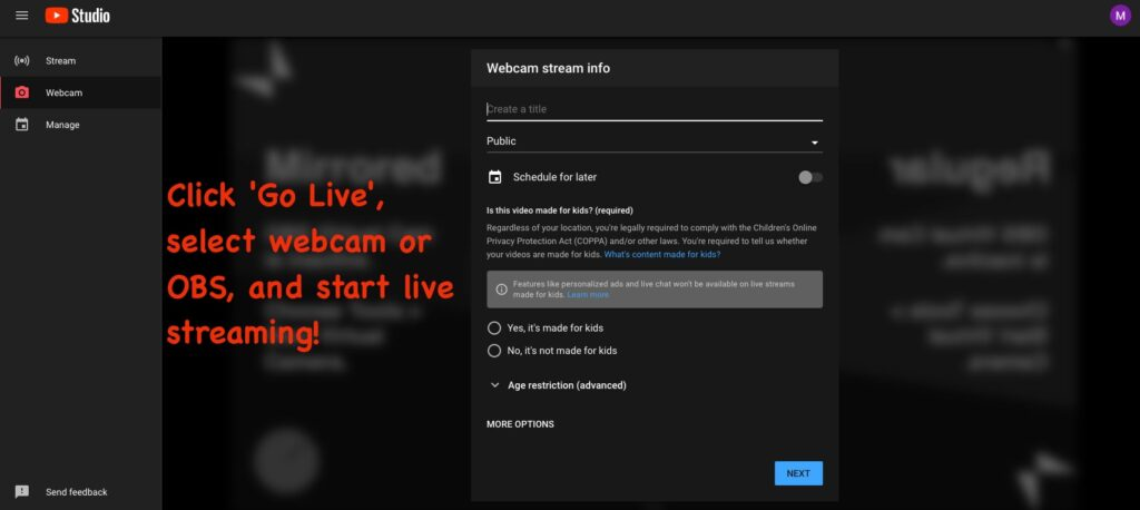 youtube livestreaming music page