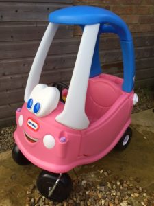 Classic Little Tikes cozy coupe ride on toy in pink and blue