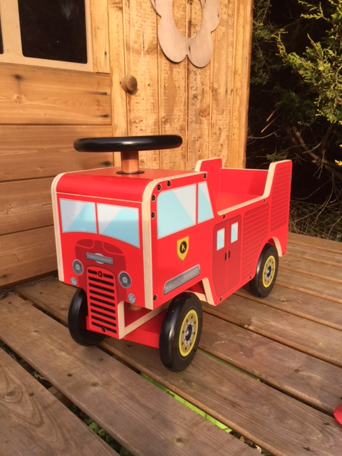 Wooden red Fire Engine ride on toy