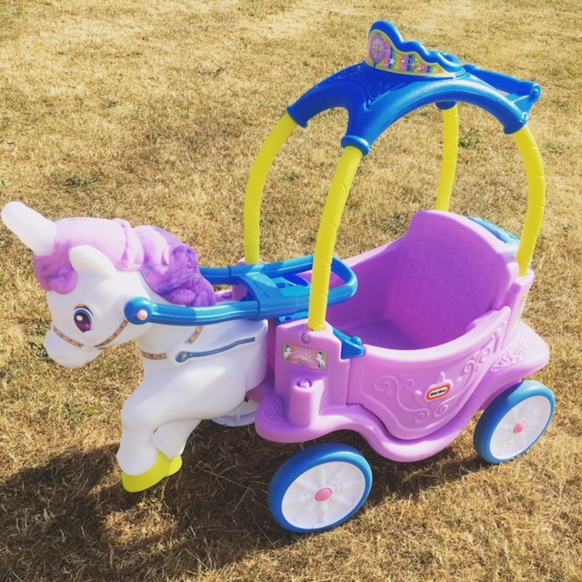Little tikes unicorn horse & carriage ride on