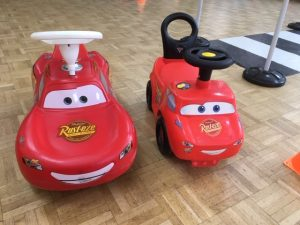 two Lighting McQueen rode on toys