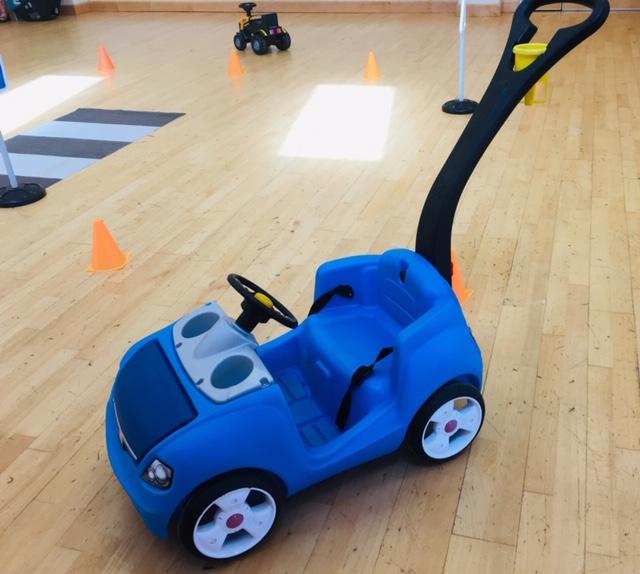 blue Push along ride on toy car