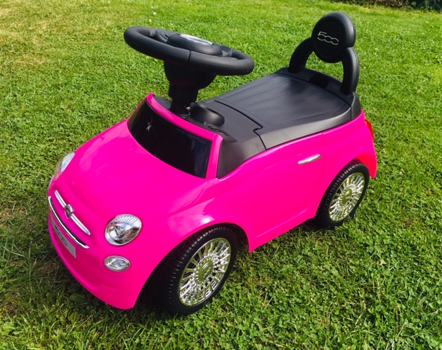 bright pink Fiat 500 ride on toy