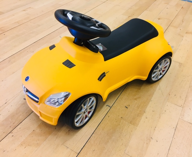 yellow mercedes ride on toy