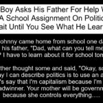 Boy Asks His Father For Help With A School Assignment On Politics.