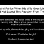 Husband Panics When His Wife Goes Missing joke