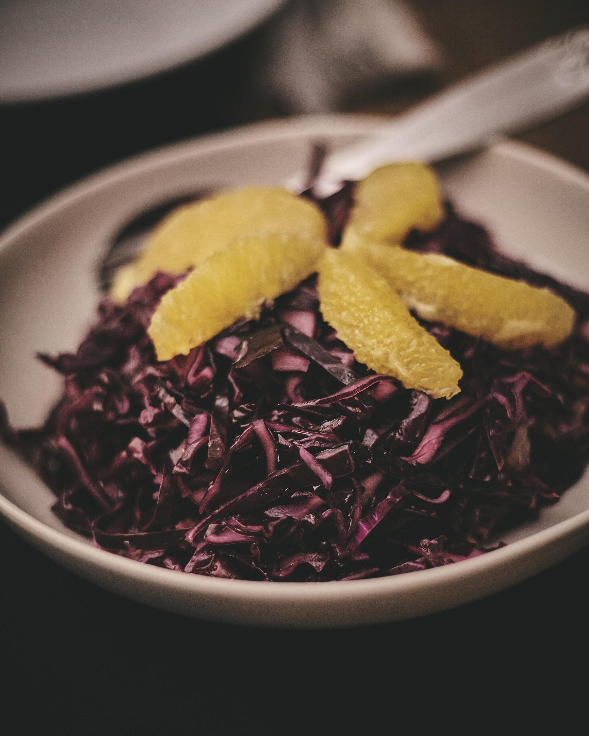 Blaukraut in Annas Küche Rezept Rotkraut selber machen Rohkost roh Orange