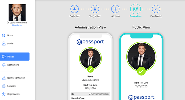 V-Health Passport™ - Passport Preview