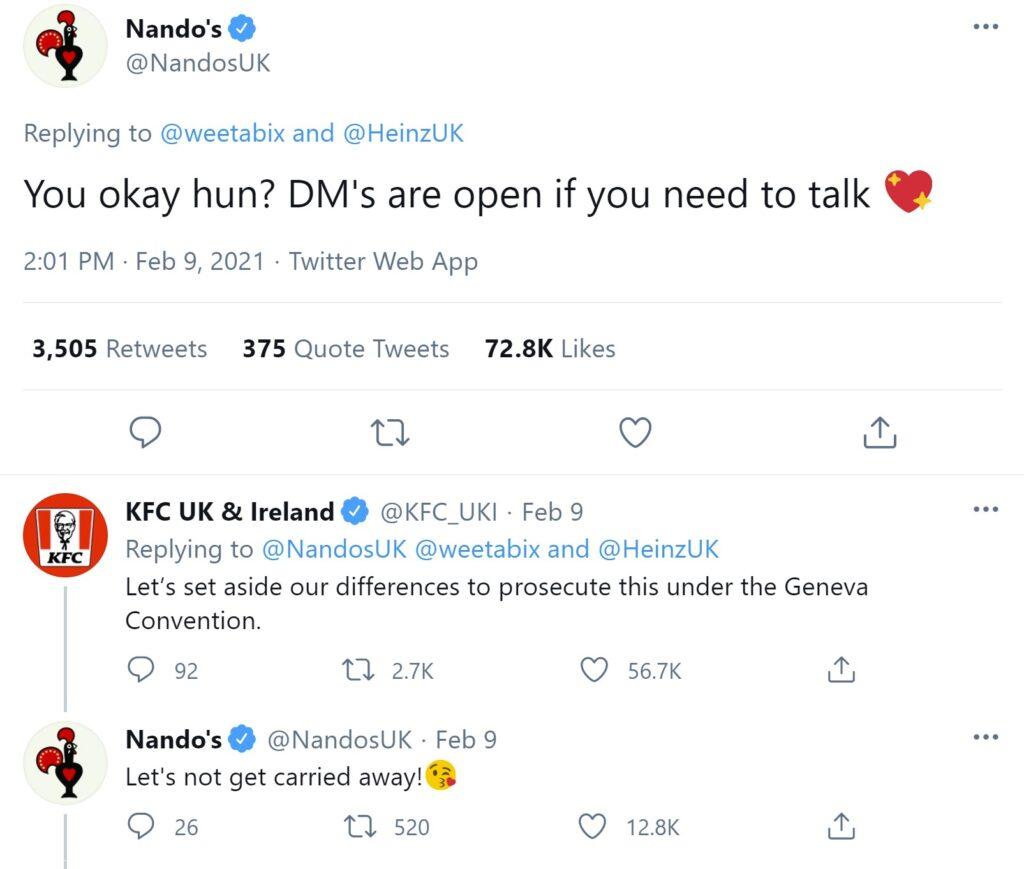 weetabix beans Nandos KFC tweet