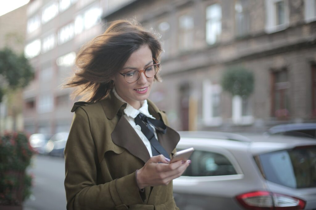 woman searching on mobile phone