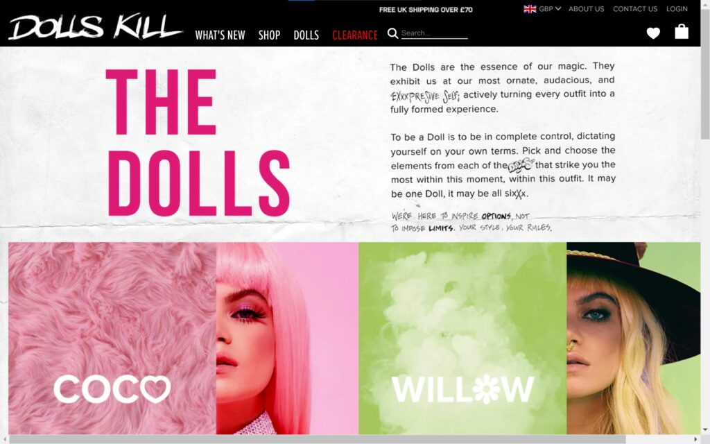 Dolls Kill Homepage