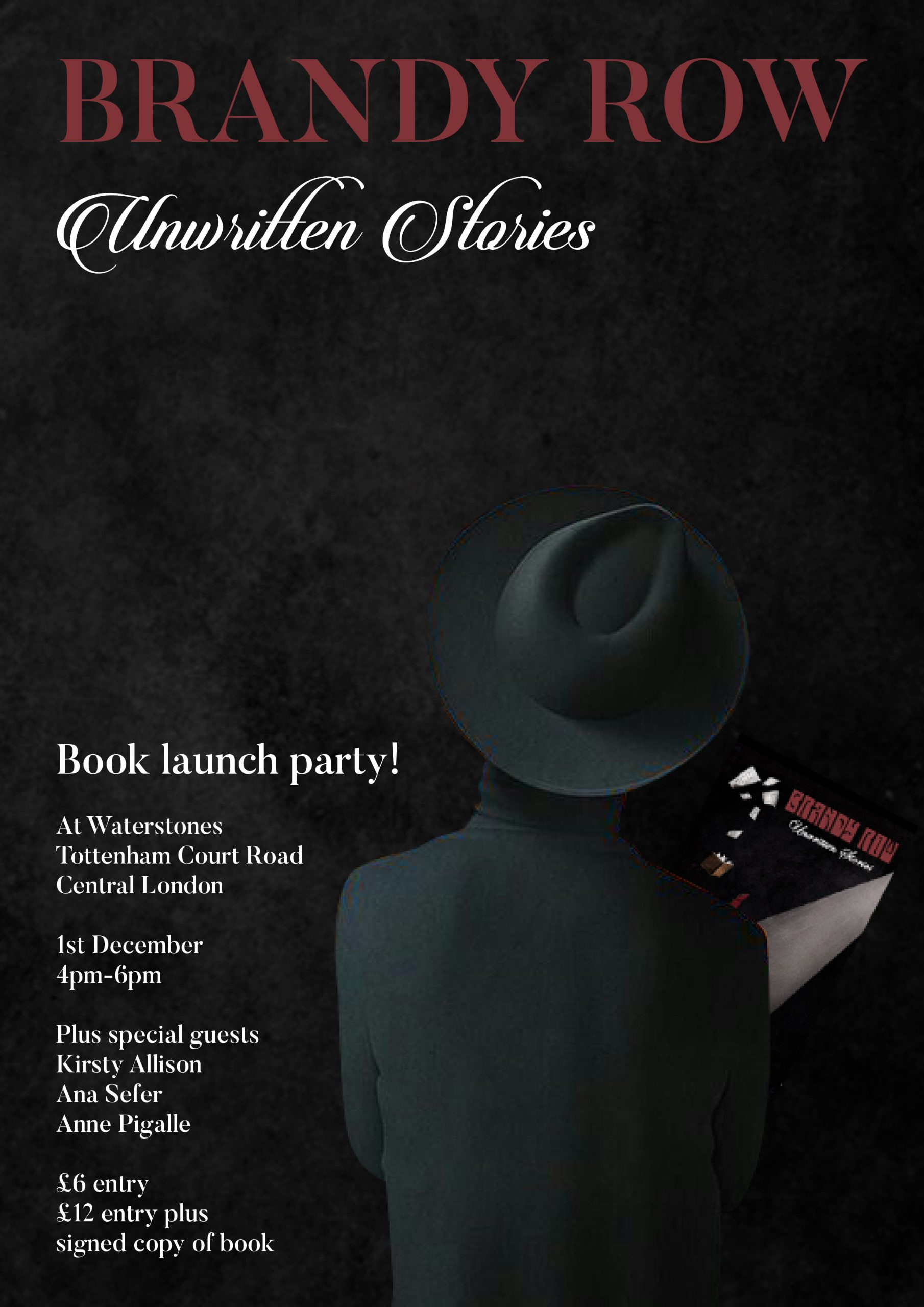 The Book Launch party for my new book 'Unwritten Stories' Will be held at Waterstones Book Store On Tottenham Court Road central London on the 1st of December