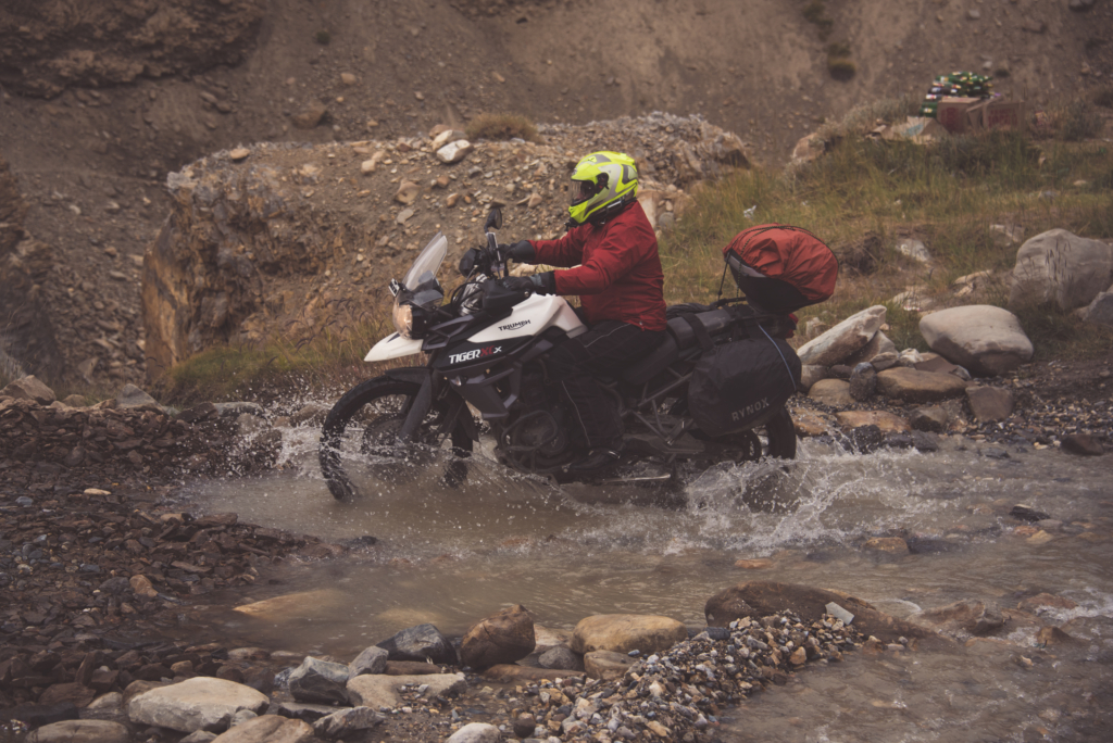 Die Hard Biker Splashing Water