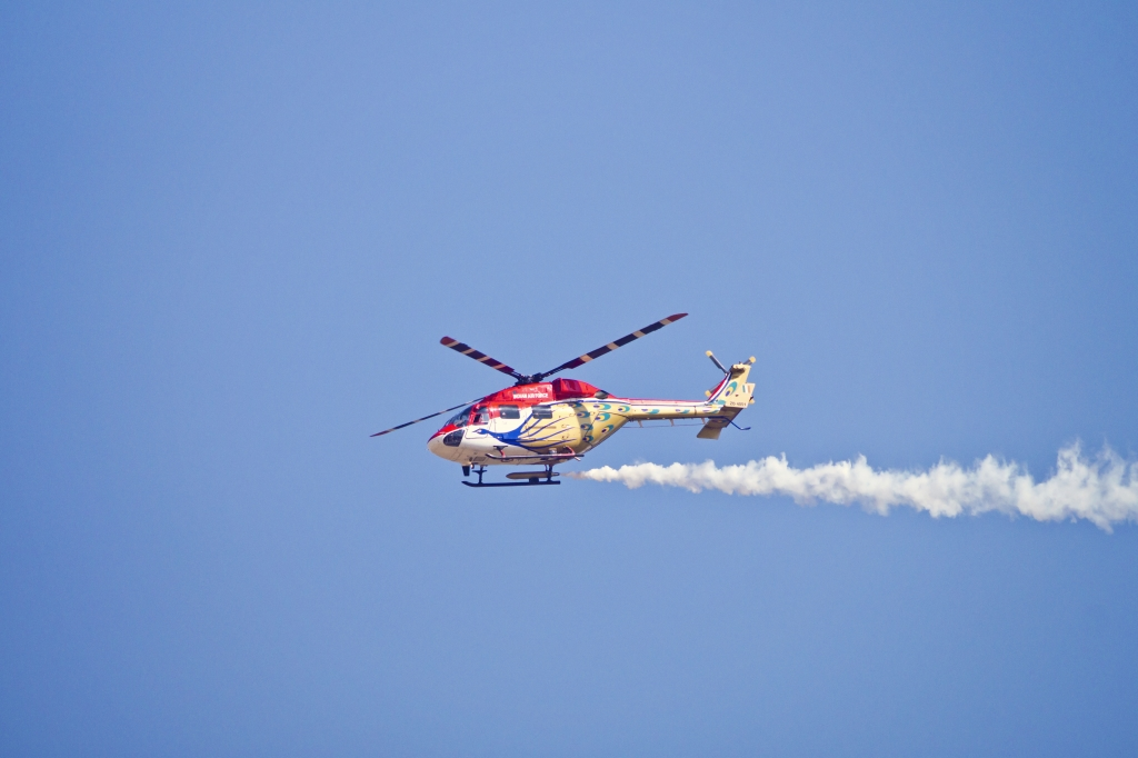 Helicopter Display Team Sarang During AeroIndia