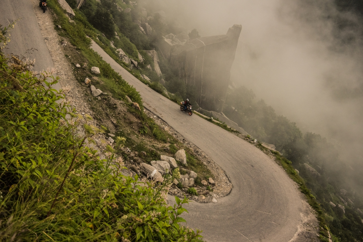 Young Biker Riding On The Hairpin Bends Of Himalayan Road