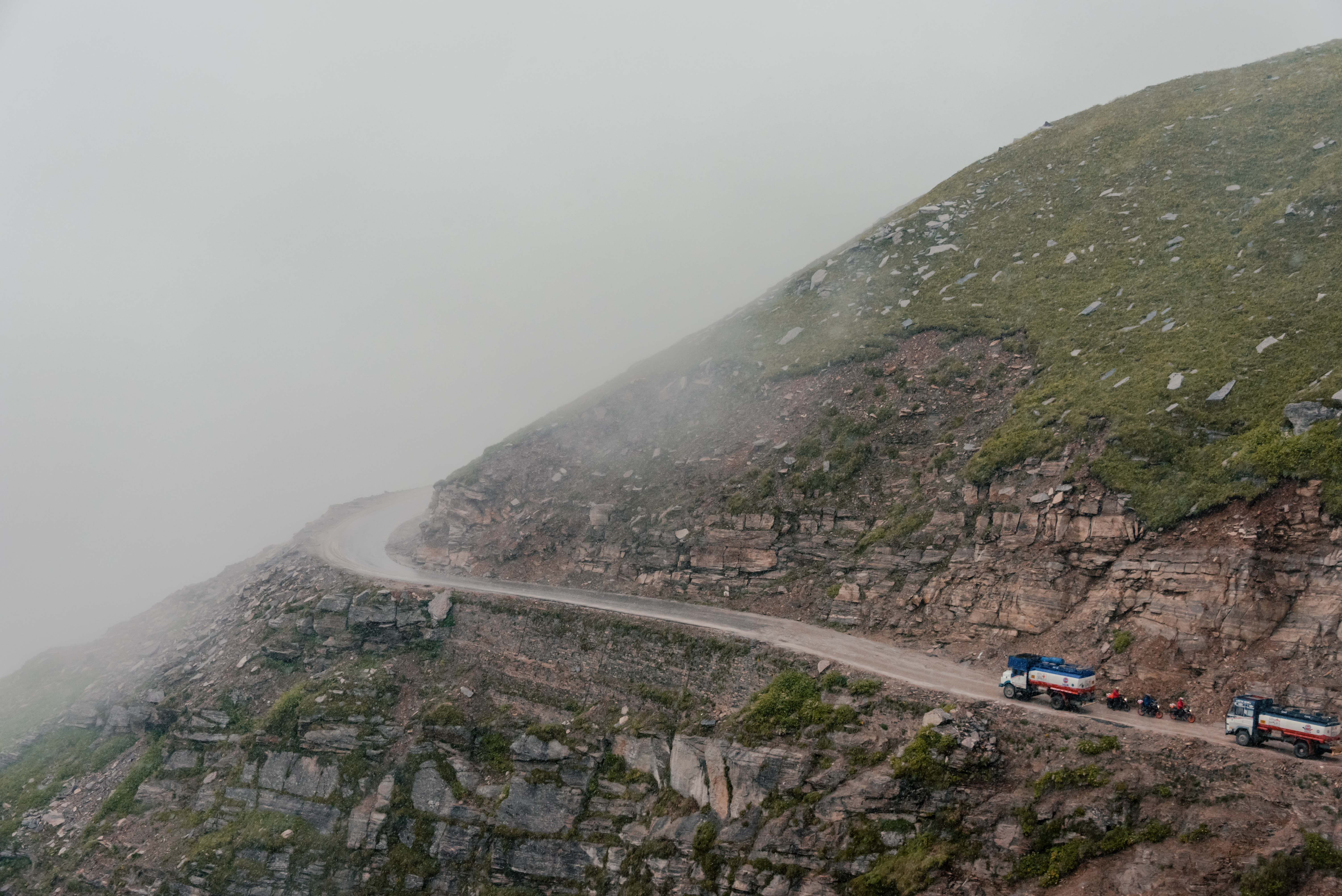 Bikers And Fuel Tankers At The Third Highest Motorable Road In The World