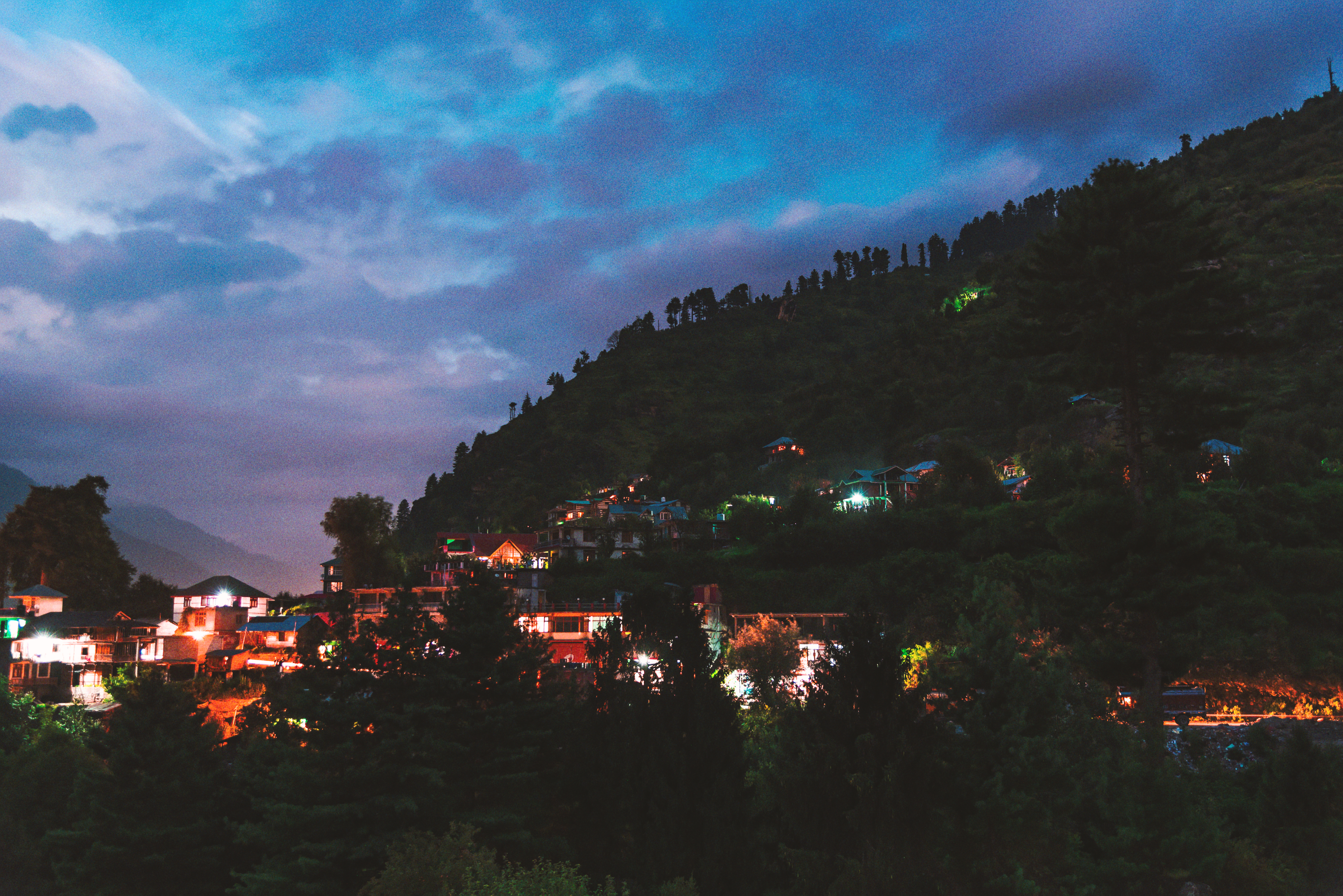 Light Filled Night Photography Of A Himalayan Village