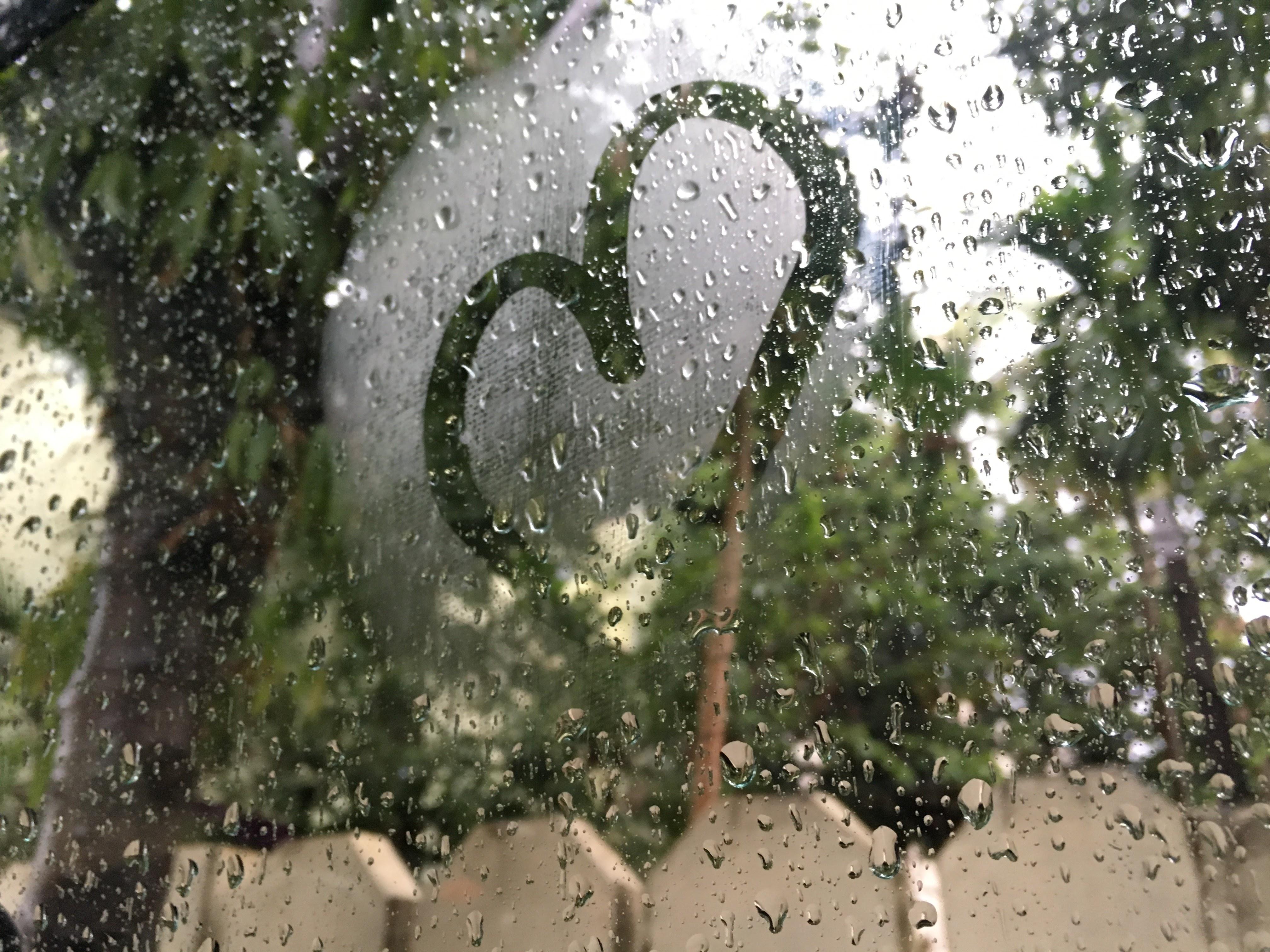 Heart Symbol With Raindrops On Car Window