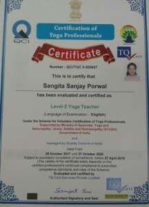 Sangita's Yogasutra certificate