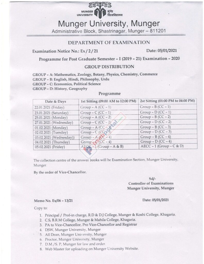Munger University PG 1st Semester Exam Date Sheet 2020