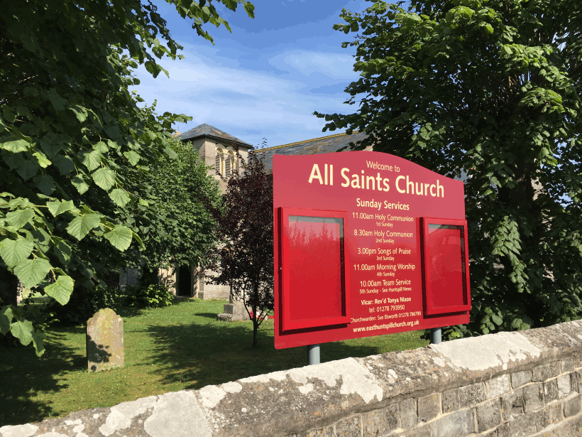 church noticeboard red aluminium classic