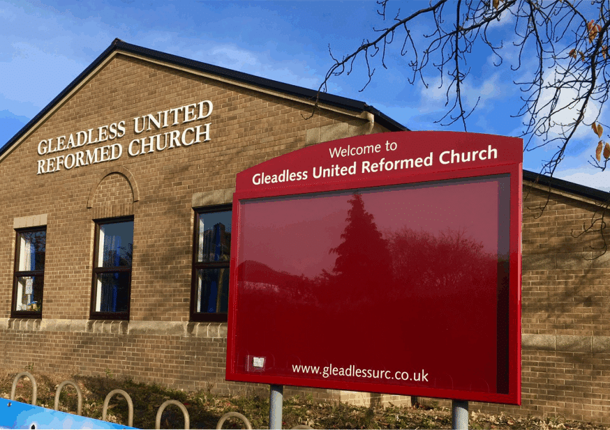 church noticeboard poster display case red aluminium complementary