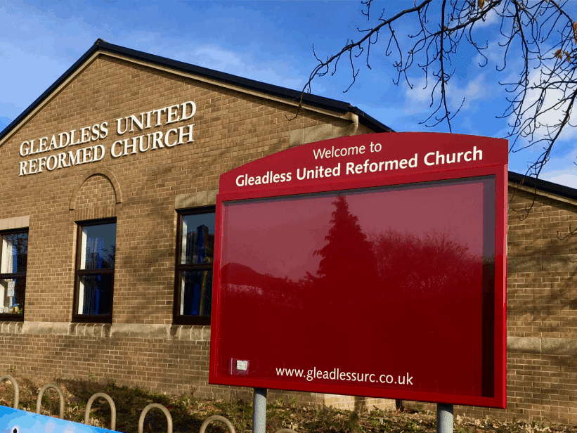 church notice board poster display case red aluminium complementary