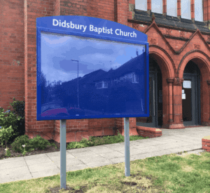 church noticeboard poster display case blue aluminium complementary